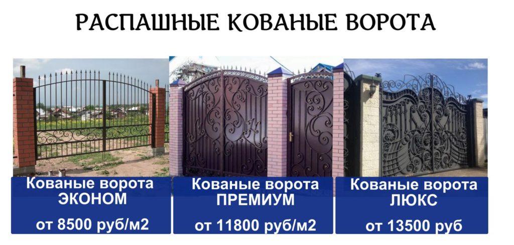 Цена на распашные кованые ворота Тула Наковали