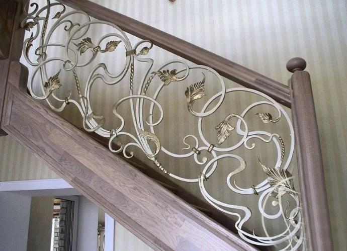 Кованые перила для лестницы с виноградной лозой Наковали