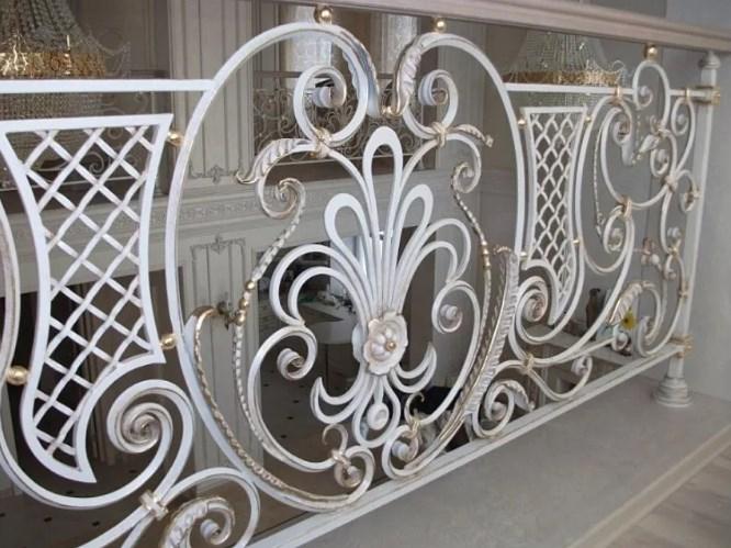 Кованые перила для лестницы белые цена Наковали