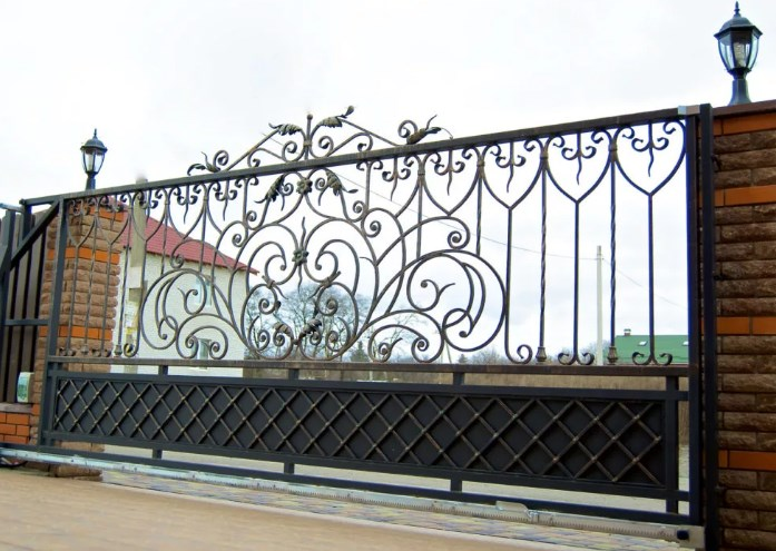 Кованые ворота откатные цена: 12200 руб/м2