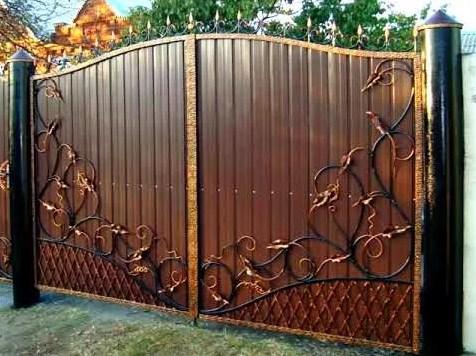 Кованые ворота распашные с калиткой №14 Цена: 10200 руб/м2