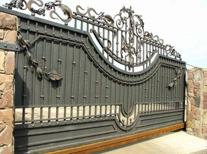 Кованые откатные ворота большие красивые Наковали
