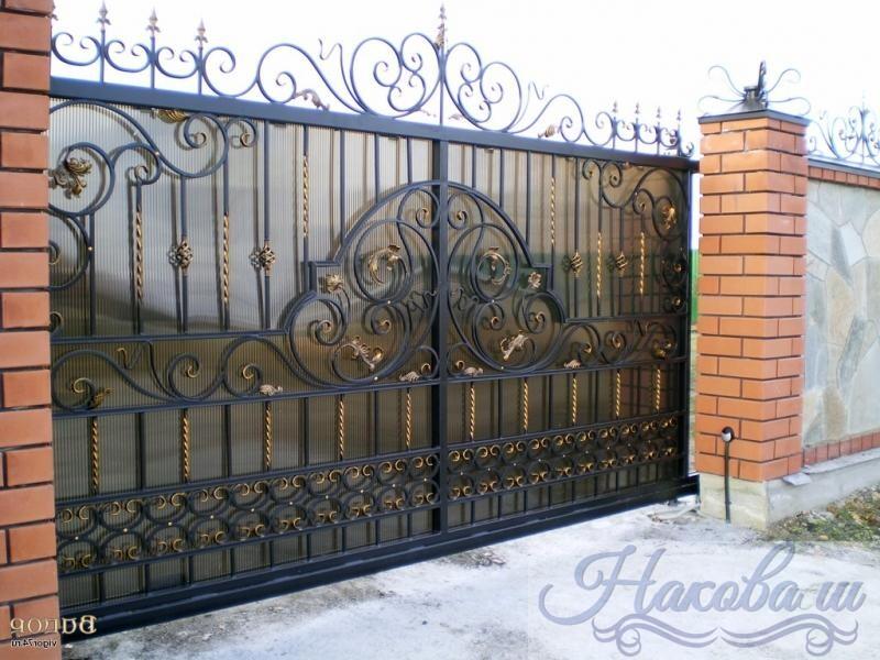 Кованые откатные ворота с поликарбонатом цена Наковали
