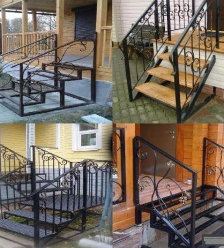 Металлокаркас лестницы с ковкой для входа наковали