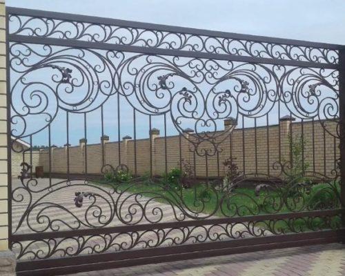 Кованые откатные ворота без листа Наковали