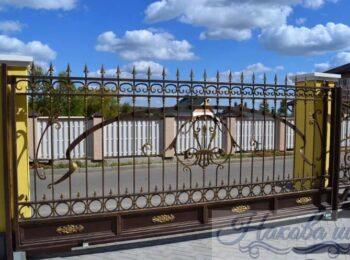 Кованые ворота откатные 24