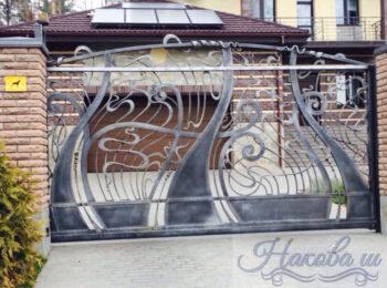 Кованые откатные ворота волна, абстракция от Наковали