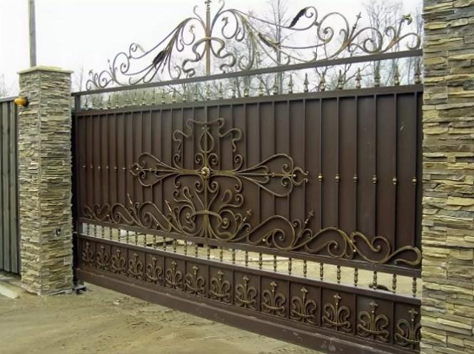 Кованые ворота откатные цена: 12600 руб/м2