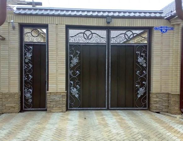 Кованые ворота распашные с калиткой №9 Цена: 9800 руб/м2