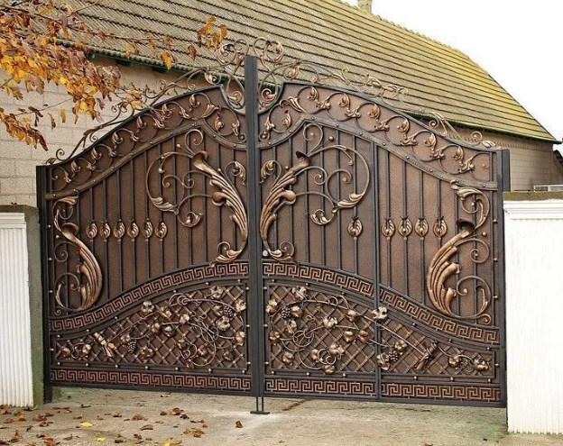 Кованые ворота распашные с калиткой №14-1 Цена: 14600 руб/м2