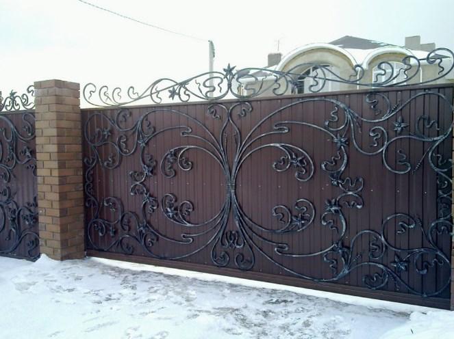 Кованые откатные ворота с профлистом цена Наковали