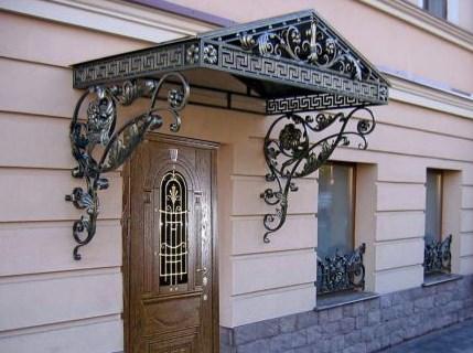 Кованый козырек с двухскатной крышей, фото цены от Наковали