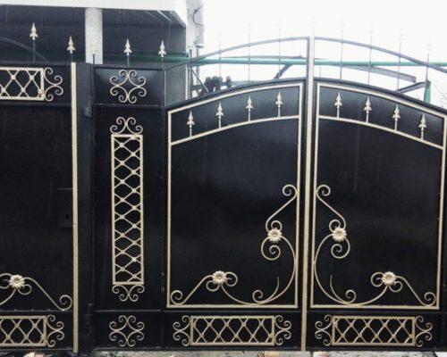 Кованые ворота черные ручная работа от Наковали