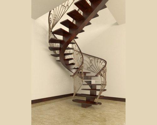 Винтовая кованая лестница 6